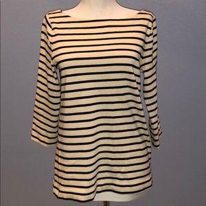 LOFT Long Sleeve Black & White Striped Shirt